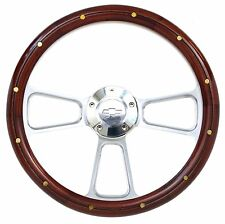 Chevelle Steering Wheel Real Wood & Brass Rivets Billet & Bowtie Horn Button