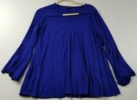 Cha Cha Vente Women's Long Bell Sleeve Top Large L Blue V Neck Popover Casual