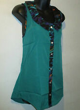 Top Large Blouse Button Down Front Green with Purple Trim Silky Shirt NWT 101