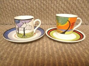 2 X WEDGWOOD CLARICE CLIFF COFFEE CUPS AND SAUCERS
