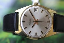 VINTAGE MEN'S BIG GOLD-PLATED RUSSIAN POLJOT WATCH 17 JEWELS WITH CALENDAR!