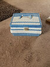 Vintage Plastic Woven Sewing Box And Contents