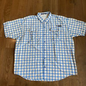 Mens Columbia PFG Super Bahama Button Down Shirt Blue White Orange Plaid XXL