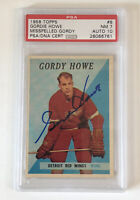 1958 Topps Hockey #8 Gordie Howe HOF PSA 7 Low Pop AUTO 10 Misspelled Gordy 🏒📈