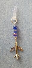 BLUE CRYSTAL AIRPLANE DANGLE CHARM FOR MOBILE PHONE TABLET IPAD IPHONE