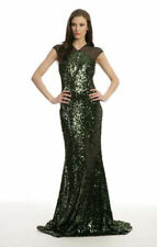 BADGLEY MISCHKA 9651 NEW Womens Green Sequined Mesh Evening Dress Gown 16