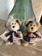 Boyds Bears Lot 2 Tess & Bess #562503/04 2003 6� Plush Patriotic Orn. Nwt🇺🇸��
