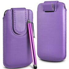 Purple Magnetic PU Leather Pull Tab  Flip Case Cover & Stylus for Mobile Phones