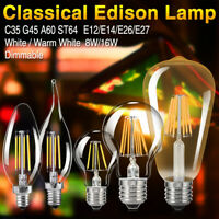 E27 8-16W DIMMABLE EDISON AMPOULE À FILAMENT LED G45/A60/ST64 LUSTRE APPLIQUE 6