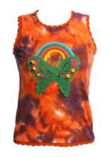 Clear Land - Women's S - Butterfly Rainbow Crochet Tie-Dye Hippie Tank Top
