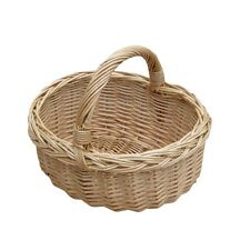 Small Wicker Shopping Basket Mini Childs Kids Size Oval Handle Storage Willow