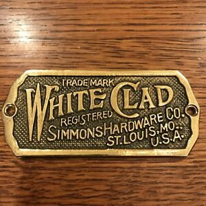 """Vintage White Clad Simmons Hardware Co. Solid Brass Ice Box Plate 3.5"""" x 1.5"""""""