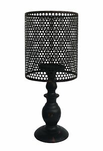 """Metal Vintage Look Table Candle Holder Candle Lamp Home Decor, Black 14"""" Tall"""