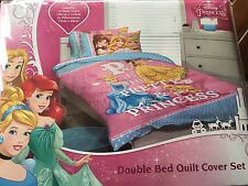 DISNEY PRINCESS CINDERELLA BELLE  DOUBLE bed QUILT DOONA COVER SET NEW