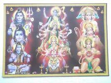 "SHIVA KALI DURGA SHERAWALI PANCHMUKHI HANUMAN Poster Hindu God lovely 16""11"""