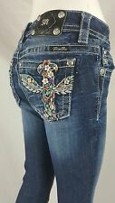 GORGEOUS MISS ME  JEANS BOOT CUT CROSS DAISY  SIZE 26