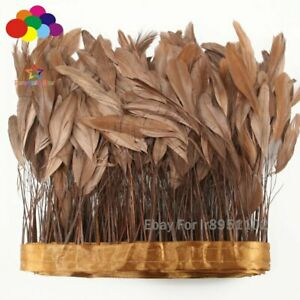 New 4-6Inch Factory 10 Meter Brown Stripped Rooster Coque Tail Feathers Trims
