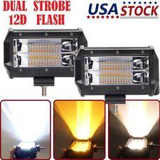 2x 5 Inch Work Cube Side Shooter LED Light Bar Pod White & Amber Strobe Lamp SUV