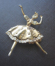 Vintage Unsigned CORO RHINESTONE DANCING BALLERINA BROOCH Gold Plating Pin RARE