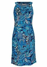 Stunning Blue Tahiti stencil SEQUIN floral Print dinner Party DRESS stretchy 18
