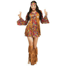 THE GROOVY 60'S PEACE & LOVE HIPPIE ADULT HALLOWEEN COSTUME WOMENS SIZE STANDARD
