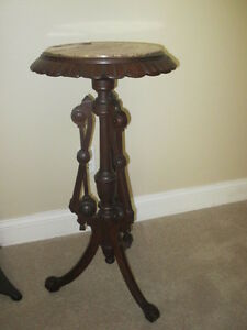 Antique Victorian Walnut Marble Top Candle Stand Pedestal Table, circa 1880