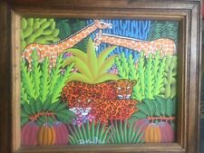 Oil  Painting  Canvas FRITZ ST JEAN ZOO ANIMALS  Original Signed