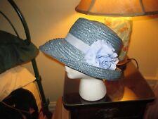 Vintage Designer Kate Spade Blue Raffia Floppy Bucket Hat ~ Very Nice ~  Stylish ae6e1121b7d