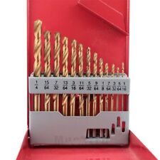 13Pc Right-Hand Drill Bit Titanium Industrial Strength W/Case Stud Extractor Set