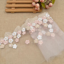 1 Yard Transparent Tulle Lace Trim White Pink Flower Embroidery Wedding Fabric