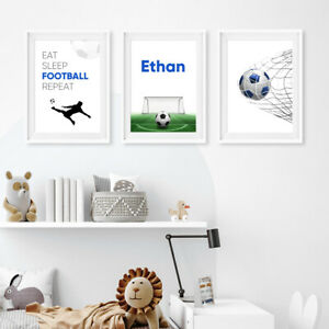 Set of 3 Personalised Football Prints Posters Childrens Wall Art Pictures - Blue
