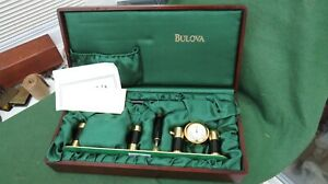 BULOVA DESK SET WITH CLOCK AND STAND FOR PEN / BUSINESS CARDS