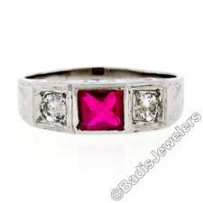 Herren Vintage 14k Weiss Gold .46ctw rund Diamant & roter Stein graviert Ehering