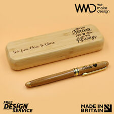 More details for personalised pen with box bamboo laser engraved * best christmas gift *