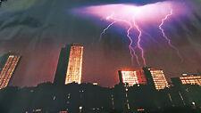 1979 City Skyline at night with lightning strikes vintage new  NOS poster HBX43