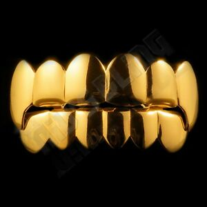18K Gold Plated Stainless Steel GRILLZ Vampire Fang Hip Hop Top and Bottom Grill