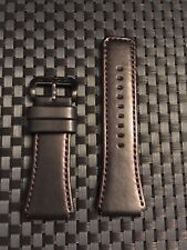 Invicta Cordoba Square Model 24mm Leather Watch Strap Black Stitch & Buckle