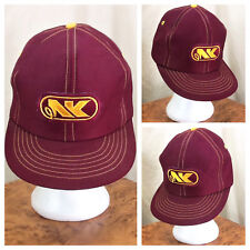 Vintage 80's Northrup King NK Seed Company Graphic Snap Back Farming Hat Maroon