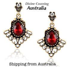 (Australia Stock) Red Heart Love Rhinestone Vintage Gemstone Dangle Earrings