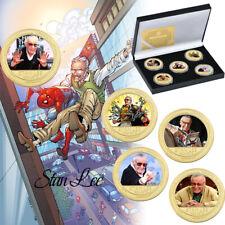 5PC Stan Lee Gold Plated Creative Coin para colección con caja de regalo