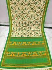Vintage Peacock Flower Art Design print crepe silk Saree Sari Craft Fabric
