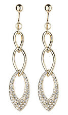 CLIP ON EARRINGS - gold linked earring with clear crystals - Catlin G