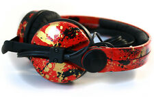 Custom Cans Red + Black & Gold Splatter Sennheiser HD25 headphones 2yr warranty