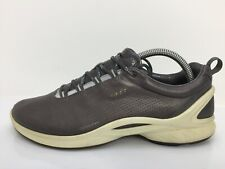 Ecco Grey Leather  Moccasin Lace Up Casual Comfort Shoe Women Size UK 7 Eur 40