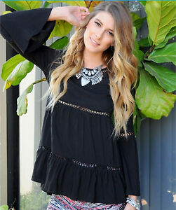 G2U SOLID BLACK CASUAL CHIC PEASANT INSET LACE RAYON LONG SLEEVE BLOUSE XS NEW