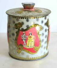 "Metal Tin Court Ladies Pink Gold Scroll Trim Vintage 5.5"" Made England FREE SH"