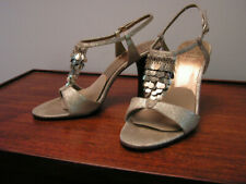"""Joan and David Gold Leather Special Occasion Shoes with Paillettes 3"""" Heel, 7.5M"""