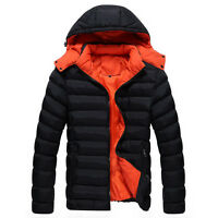 Men's Winter Warm Fit Parka Paded Quilted Hoodie Jacket Coat Outwear Black New