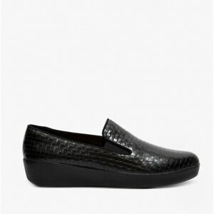 FitFlop SUPERSKATE METALLIC RAFFIA Ladies Leather Cushioned Loafers All Black