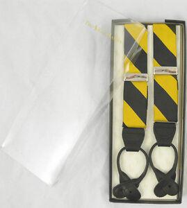 NEW Polo Ralph Lauren Silk Suspenders! Yellow & Black Repp Stripe  *Made in USA*